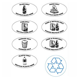 Techstar Bullseye Oval Labels for Recycling Containers
