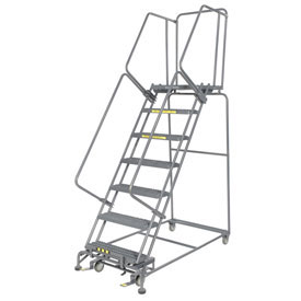 Industrial Steel Rolling Ladders With Handrails