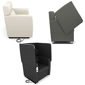 OFM - Morph Series - Chairs & Sofas with Privacy Panels & AC/USB Recharge Panel