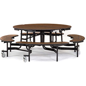 National Public Seating® - Round Portable Cafeteria Table - Fixed / Folding Benches