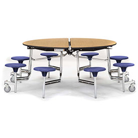 National Public Seating® - Round Portable Cafeteria Stool Unit with Plywood Board Core Top