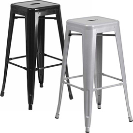Backless Metal Indoor-Outdoor Barstool with Square Seat