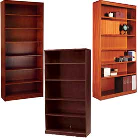 Wood Veneer - Full Height, Easy Assembly, Stationary Bookcases