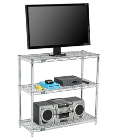 Nexel - Wire 3-Shelf Media Stand - Chrome