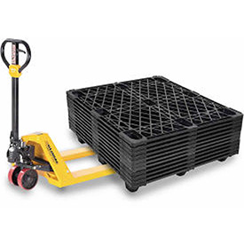 Best Value Pallet Jack Truck & (10) Nestable Plastic Pallets Combo Kit