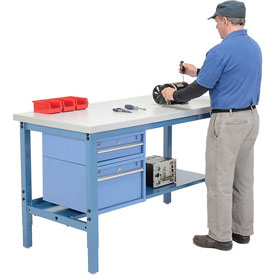 Preconfigured Workbench with Drawers and Lower Shelf - Blue