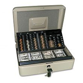 "PM Company 3-In-1 Cash-Change-Storage Steel Security Box 04967, 11-1/2""W x 9-1/2""D x 3-1/2""H"