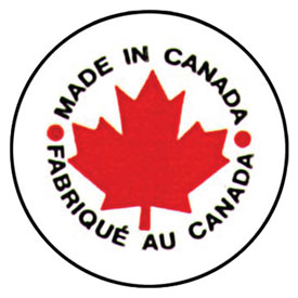 "Made In Canada Shipping Label -  1"" Diameter - Bilingual"