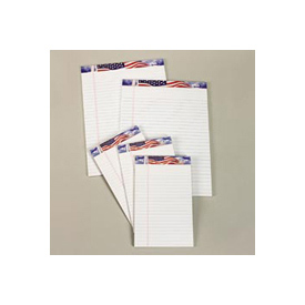 American Pride Writing Pads, Recycled, 8-1/2 x 11-3/4, Legal Rule, White, 12/Pk