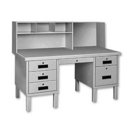 Double Pedestal Shop Desk w/ Filing Cabinet Gray