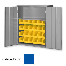 "Pucel Wall & Bench Bin Cabinet WBC-2630 - 26-1/2""W x 9""D x 30""H, Blue With 24 Yellow Bins"