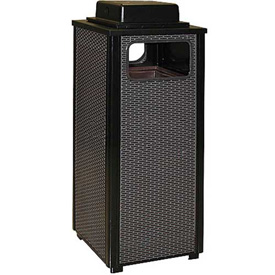 "Urn And Trash Receptacle, Black, 12 gal capacity, 13.5""Sq x 32""H"