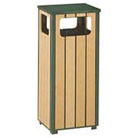 "Rubbermaid® R1450 Regent Flat Top Waste Receptacle, Green/Cedar, 12 Gallon, 13-1/2""Sq x 32""H"