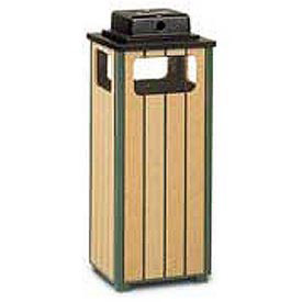 "Urn And Trash Receptacle, Green/Cedar, 12 gal capacity, 13.5""Sq x 32""H"