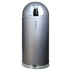 "Hands-Free Round Top Trash Can, Silver Metallic, 15 gal, 15""Dia x 36""H"