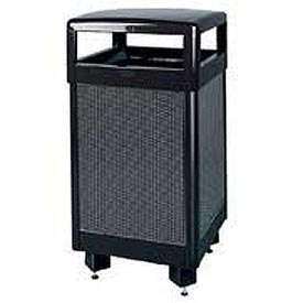 "Rubbermaid® R36HT 29 Gallon Hinged Top Garbage Can, Black with Perforated Panels, 21""Sq. x 40""H"