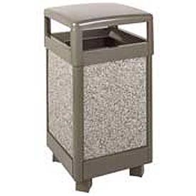 """Hinged Top Garbage Can, Bronze/Gray, 29 gal., 21""""Sq x 40""""H"""