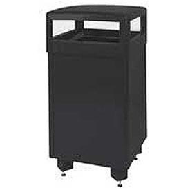 "Hinged Top Garbage Can, Black, 29 gal., 21""Sq x 40""H"