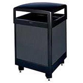 "Rubbermaid® R38HT 38 Gallon Hinged Top Garbage Can w/Perforated Panels, Black, 26"" Sq. x 40"" H"