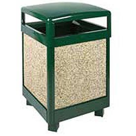 "Rubbermaid® FGR48HT Aspen 48 Gallon Hinged Top Trash Container, Green/Brown, 26"" Sq. x 40"" H"