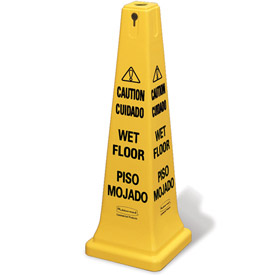 "Rubbermaid® 6276-77 4-Sided Multi-Lingual Wet Floor Caution Safety Cone 36""H"