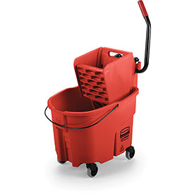 Rubbermaid WaveBrake® Side Press Mop Bucket & Wringer Combo - Red