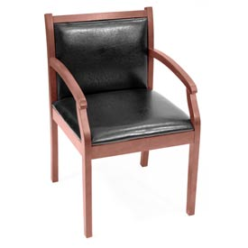 Regent Wood and Vinyl Side Chair - Cherry/Black Vinyl