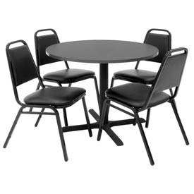"36"" Round Table with Vinyl Chairs - Mocha Walnut Table / Black Chairs"