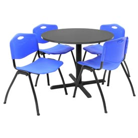 "36"" Round Table with Plastic Chairs - Mocha Walnut Table / Blue Chairs"