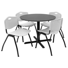 "36"" Round Table with Plastic Chairs - Mocha Walnut Table / Gray Chairs"