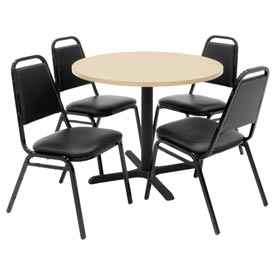 "42"" Round Table with Vinyl Chairs - Beige Table / Black Chairs"
