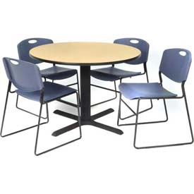 "42"" Round Table with Wide Plastic Chairs - Beige Table / Blue Chairs"