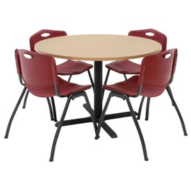 "Regency Table and Chair Set - 42"" Round - Beige Table / Burgundy Plastic Chairs"
