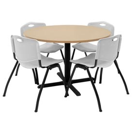 "Regency Table and Chair Set - 42"" Round - Beige Table / Gray Plastic Chairs"