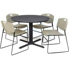 "Regency Table and Chair Set - 42"" Round - Gray Table / Gray Wide Plastic Chairs"