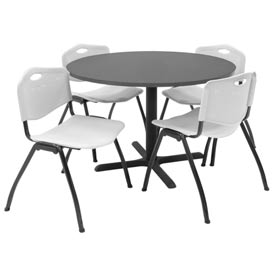 "Regency Table and Chair Set - 42"" Round - Gray Table / Gray Plastic Chairs"