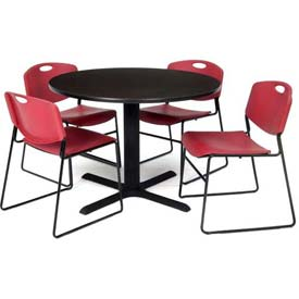 "42"" Round Table with Wide Plastic Chairs - Mocha Walnut Table / Burgundy Chairs"