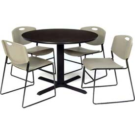 "42"" Round Table with Wide Plastic Chairs - Mocha Walnut Table / Gray Chairs"