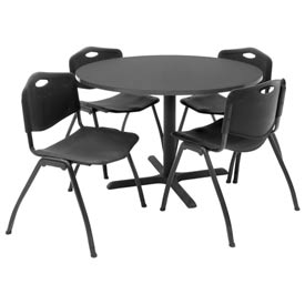 """42"""" Round Table with Plastic Chairs - Mocha Walnut Table / Black Chairs"""