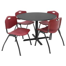"Regency Table and Chair Set - 42"" Round - Mocha Walnut Table / Burgundy Plastic Chairs"
