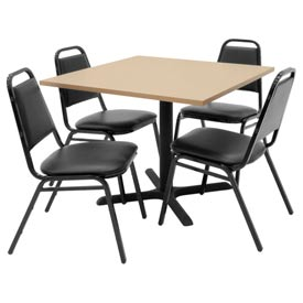 """36"""" Square Table with Vinyl Chairs - Beige Table / Black Chairs"""