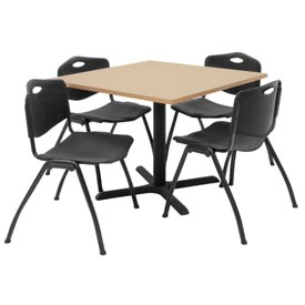 "Regency Table and Chair Set - 36"" Square - Beige Table / Black Plastic Chairs"