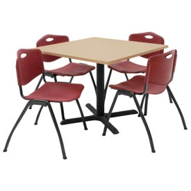"36"" Square Table with Plastic Chairs - Beige Table / Burgundy Chairs"
