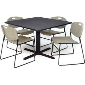 "Regency Table and Chair Set - 36"" Square - Gray Table / Gray Wide Plastic Chairs"