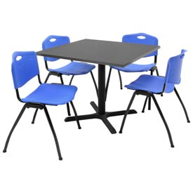 "36"" Square Table with Plastic Chairs - Gray Table / Blue Chairs"