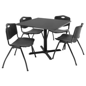 "Regency Table and Chair Set - 36"" Square - Gray Table / Black Plastic Chairs"