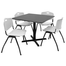 "36"" Square Table with Plastic Chairs - Gray Table / Gray Chairs"