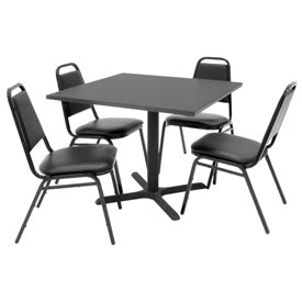 "36"" Square Table with Vinyl Chairs - Mocha Walnut Table / Black Chairs"