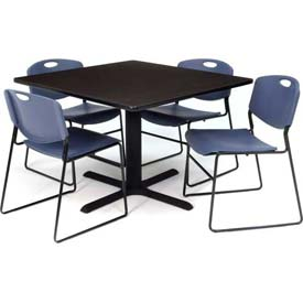 "36"" Square Table with Wide Plastic Chairs - Mocha Walnut Table / Blue Chairs"