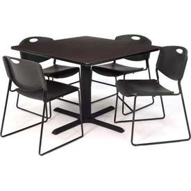 "Regency Table and Chair Set - 36"" Square - Mocha Walnut Table / Black Wide Plastic Chairs"